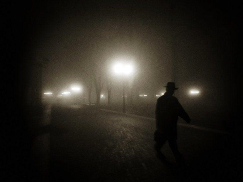 туман, мужчина, силуэт photo preview