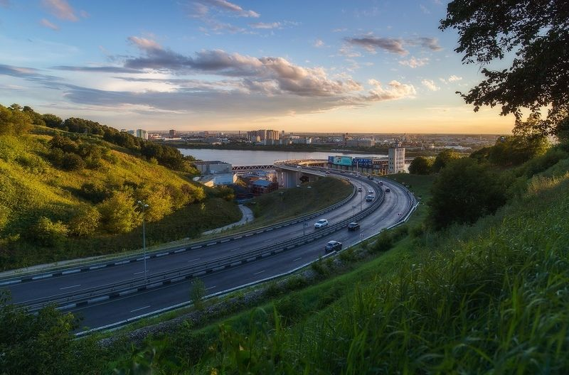 нижний новгород, мост, закат Метромостphoto preview