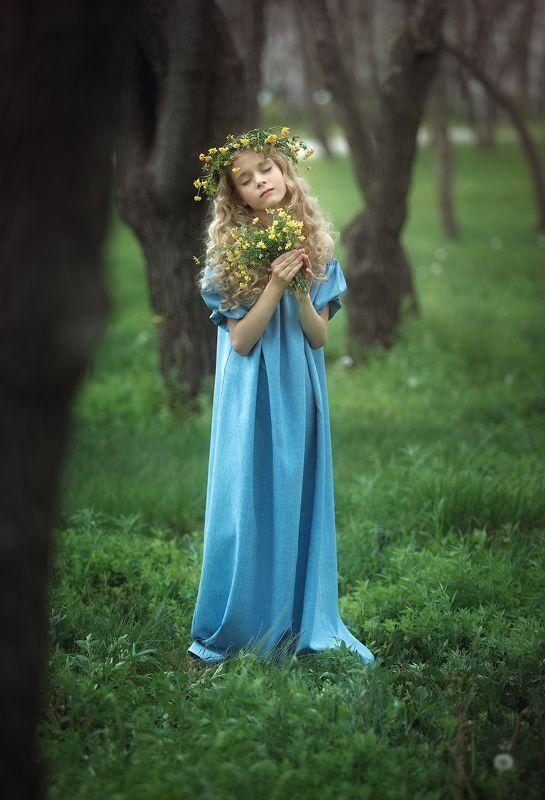 дети, лето, цветы, лес, эмоции photo preview