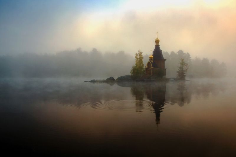 церковь, утро, туман, река, вода, небо Туманное утро на Вуоксеphoto preview