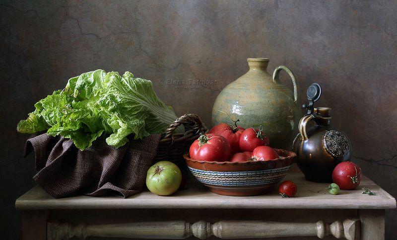 помидоры, томаты, кувшин, капуста, август, лето, Помидорно-капустный сезонphoto preview