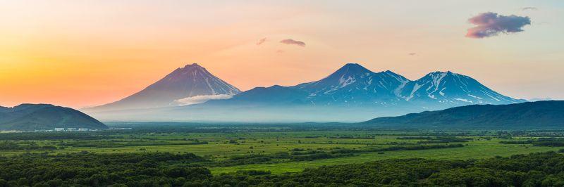 камчатка, вулкан, закат, пейзаж, горы ***photo preview