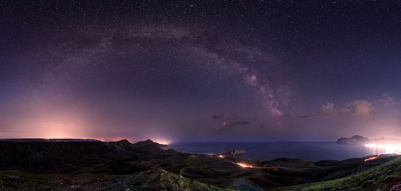 sea, seacost Crimea, Koktebel, A panorama of Black Sea shore from the top of Kuchuk-Enyshar Mountphoto preview