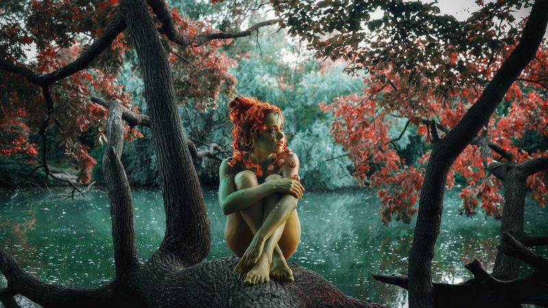 girl, model, nymph, fairy tale, fantasy, body painting, red, mermaid, forest, river, russia, девушка, модель, нимфа, сказка, фентези, бодиарт, рыжая, русалка, лес, река, россия Nymphphoto preview