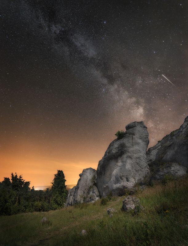 milky way, night, perseids, stars, sky, stones, poland, summer,  Perseid nightphoto preview