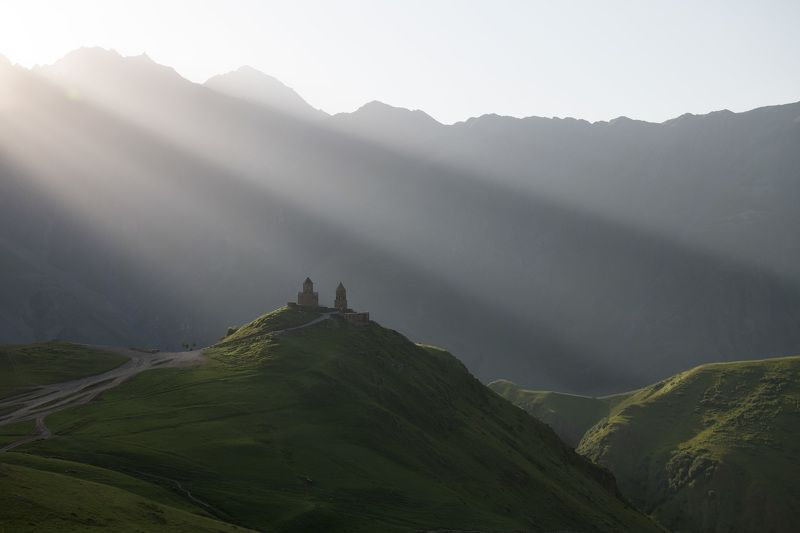 holy trinity church, kazbegi, georgia Sunrise over the Caucasusphoto preview