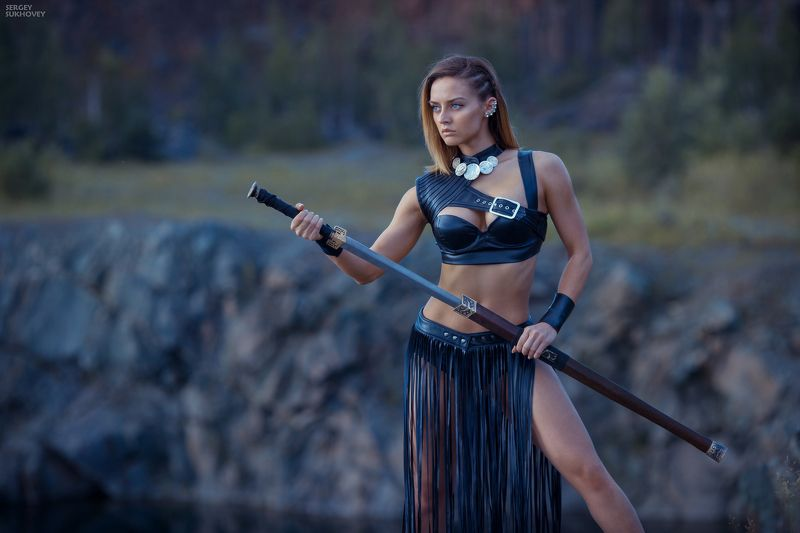 сказка, амазонка, амазонки, amazon,воительница, воин, копье, девушка воин, amazons, amazon, лук, стрелы, горы, озеро, фентези, меч, фитнес бикини, девушка с мечом Амазонкаphoto preview