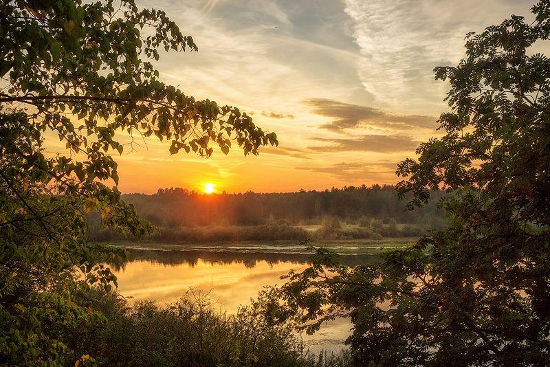 закат, лето, река, небо, облака, отражение, солнце Багряный свет 2photo preview