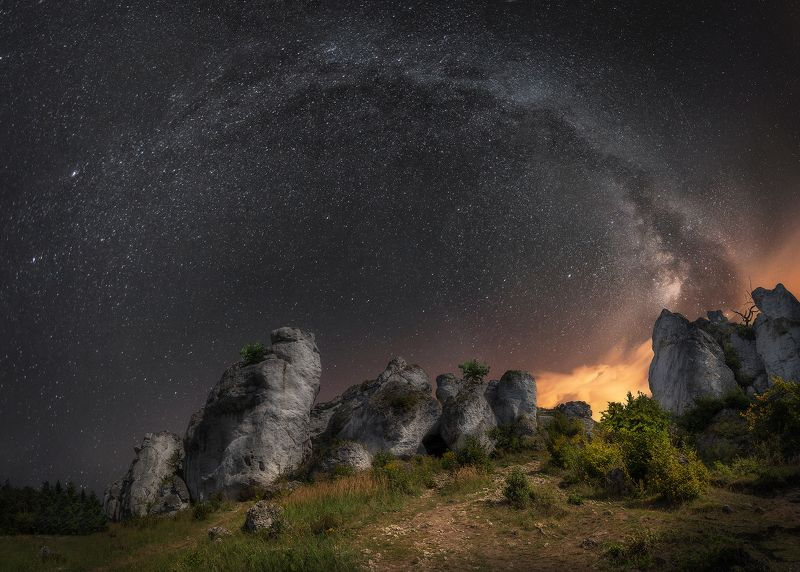 milky way, sky, night, stars, Poland, summer, dark, Cracov, rocks,  Night in Polandphoto preview