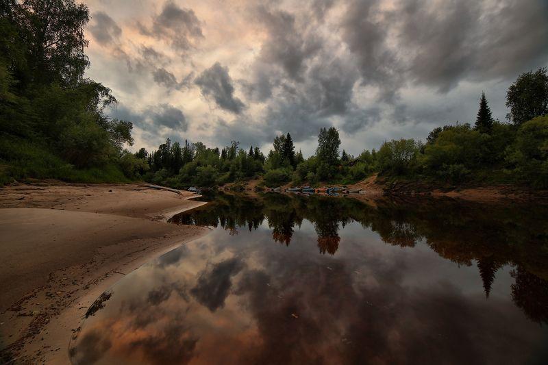 югра,ачимовы,юганский заповедник,река малый юган тихий вечер в заповедникеphoto preview