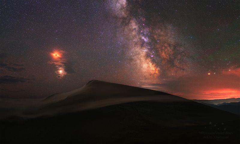 затмение луны, луна, млечный путь, звезды, ночь, звезда, горы, туман, карпаты, драгобрат Полное затмение Луныphoto preview