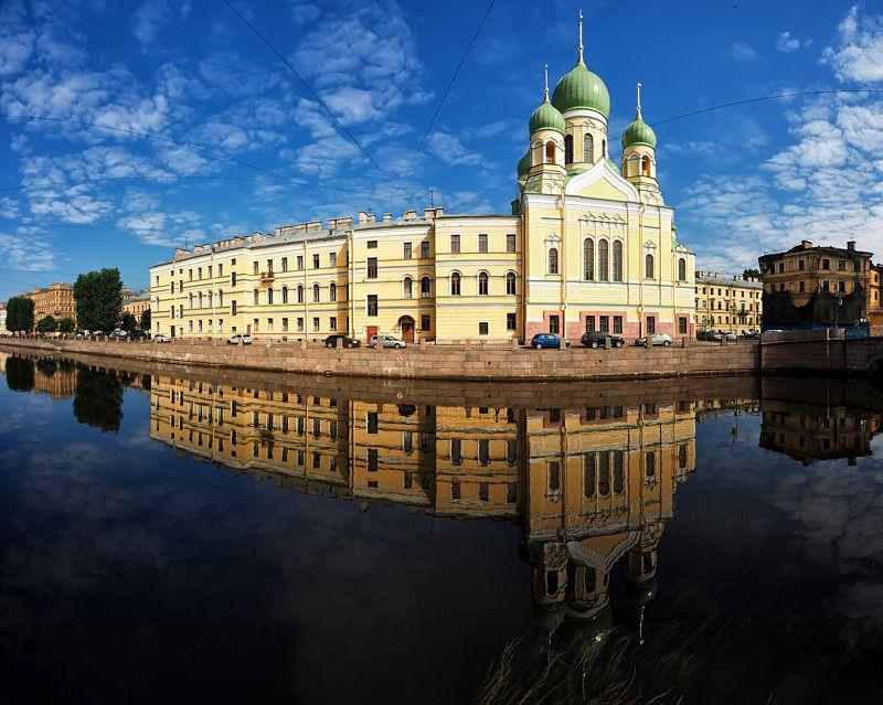город, панорама, Санкт-Петербург, Питер, отражение, лето, утро, рассвет  Свято-Исидоровская церковьphoto preview