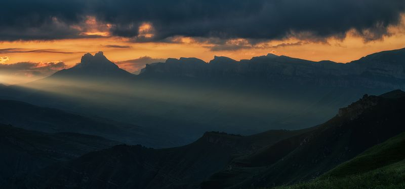 кабардино-балкария, кавказ, горы, закат, панорама, ***photo preview