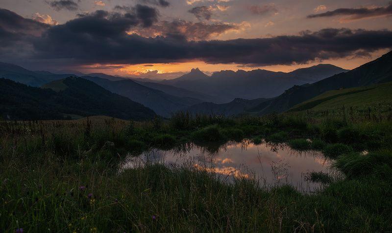 кабардино-балкария, кавказ, горы, закат, озеро, отражение, вечер ***photo preview