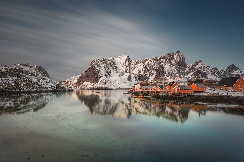Lofoten, Norway, long exposure, clouds, fjord, mountains, village, north, mirror,  Spring in Lofoten, Norwayphoto preview