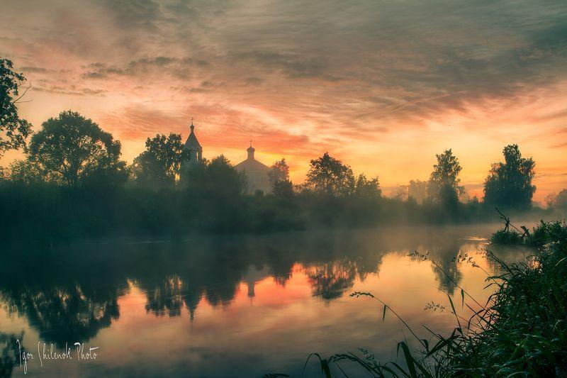 лето, рассвет, река, облака Пробуждение Душиphoto preview