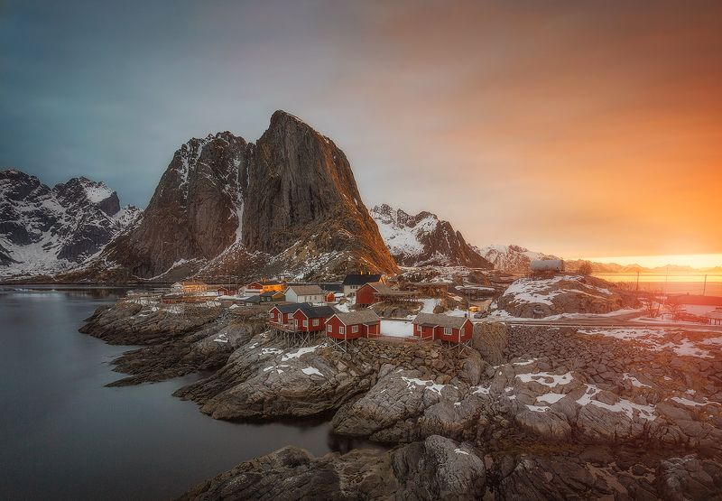 hamnoy, lofoten, nrway, sunset, sunrise, mountains, islands, spring Sunrisephoto preview
