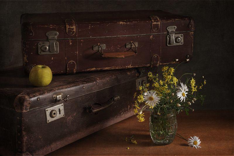 чемодан, яблоко , цветы Собираясь в дорогу..photo preview