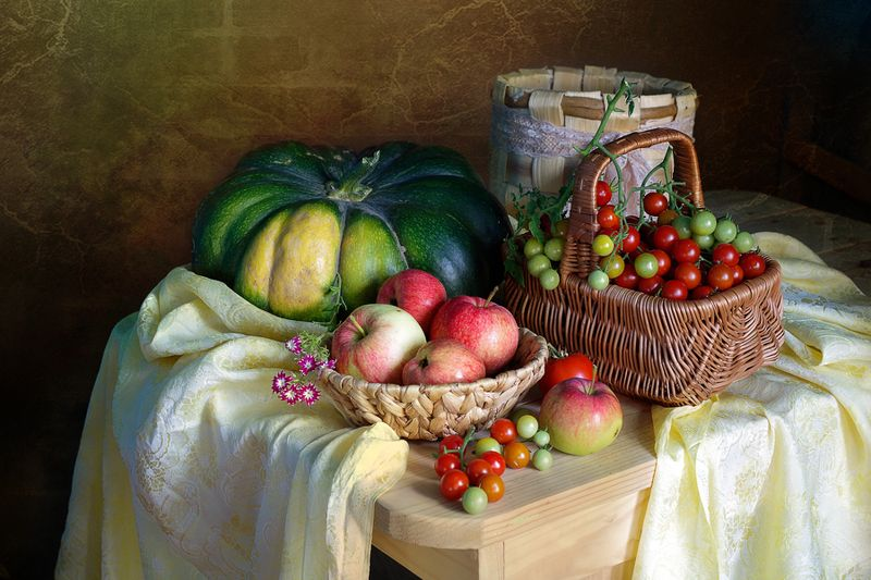 тыква,томат,яблоко,вера павлухина,натюрморт, На фазендеphoto preview