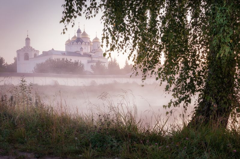 природа, рассвет, туман, солнце, туман, пейзаж, монастырь, nature, dawn, fog, sun, fog, landscape, monastery Россияphoto preview
