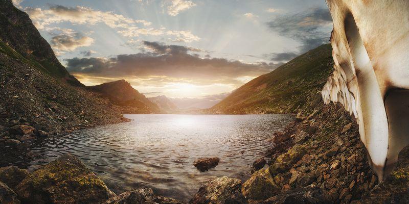 архыз, семицветное, озеро, ледник, закат, карачаево-черкесия, горы Архыз. Семицветное озероphoto preview