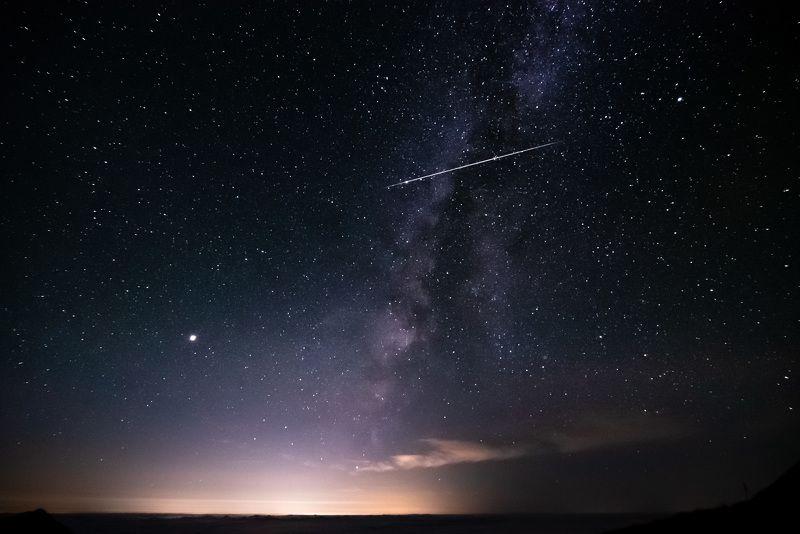 звезды, таймлапс, горы, ночь, Япония Звездопад в Наганоphoto preview