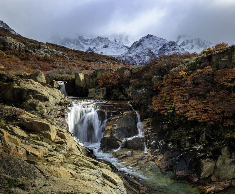 mountains range, Fitzroy, Argentina, Andes, Patagonia, waterfall Фицрой видишь? А он есть!photo preview