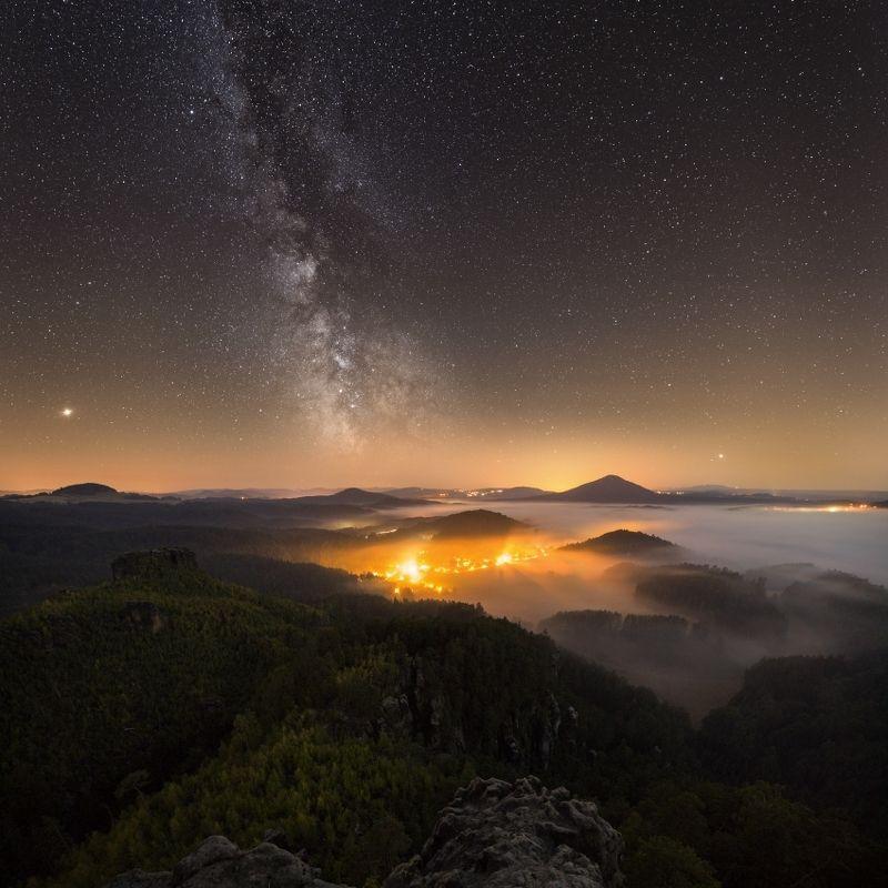 night, milkyway, stars,starscape,Bohemian Switzerland, Czechia Bohemian Switzerland at nightphoto preview