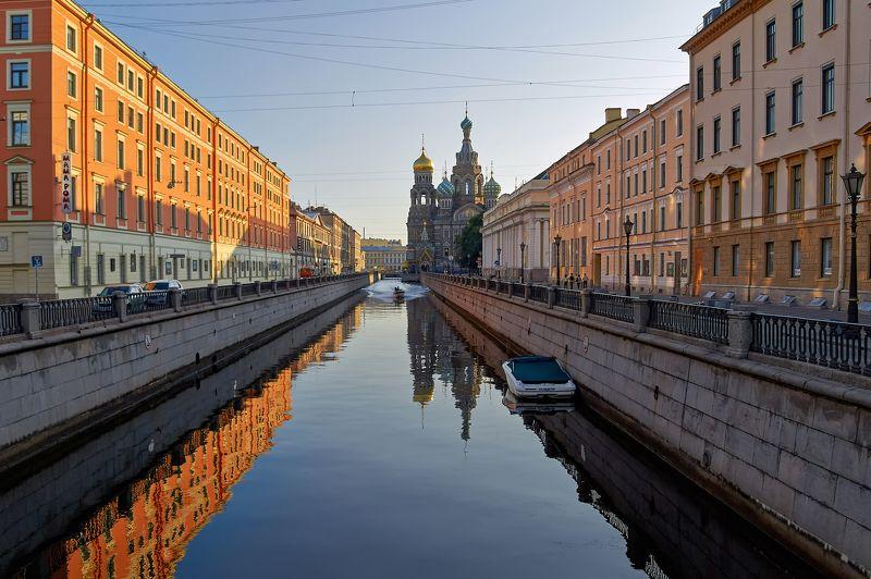 город, утро, рассвет, собор, вода, отражение, Санкт-Петербург, Питер, красота Канал Грибоедова и Спас-на-Кровиphoto preview
