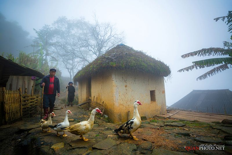 quanphoto, people, rural, ethnic, minority, fog, foggy, ancient, house, traditional, highland, plateau, vietnam Ethnic Minority Familyphoto preview