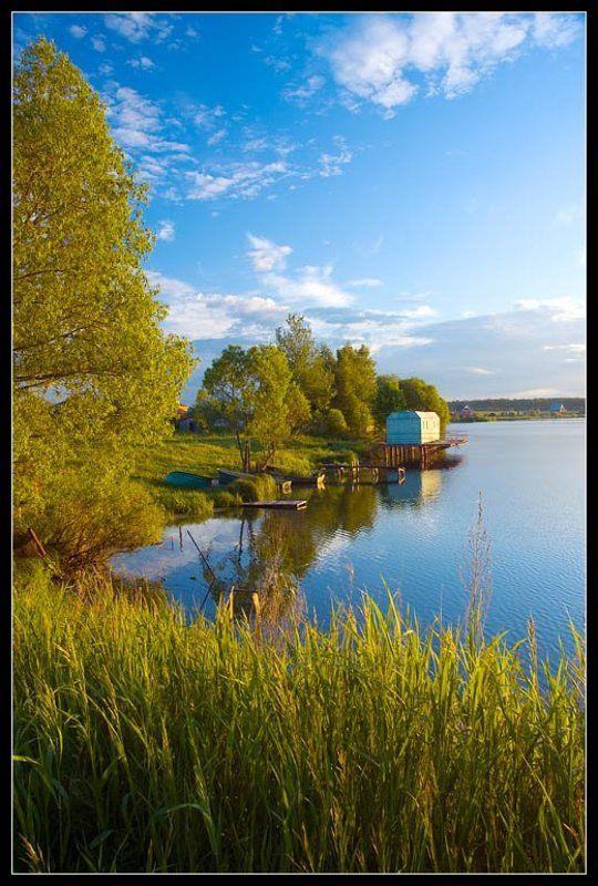 лето, озеро, вода, облака, отлых photo preview