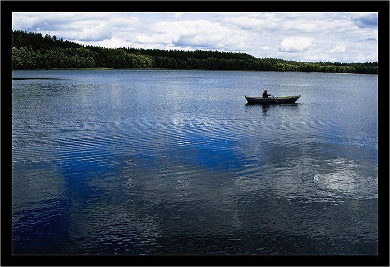 глюк, озеро, лодка, рыбак, лето ***photo preview
