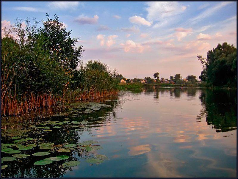 украина, миргород, закат, река, хорол, отражение, лето, лодка Перед закатомphoto preview