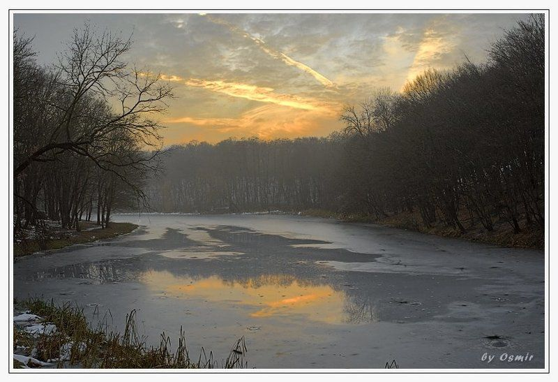 закат, осень, голосеевский парк, озеро Предзимний закатphoto preview