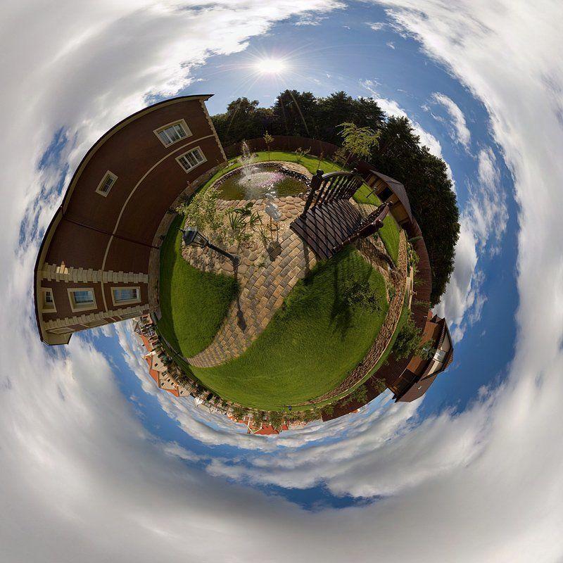 сфера, глобус, панорама, дача, пруд, мостик Дачка :)photo preview