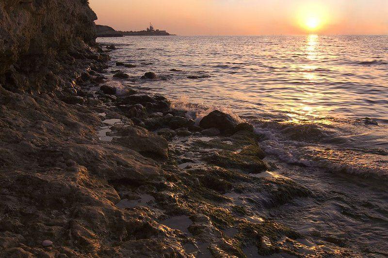 море, камни, черное море, крым, херсонес, закат, севастополь photo preview
