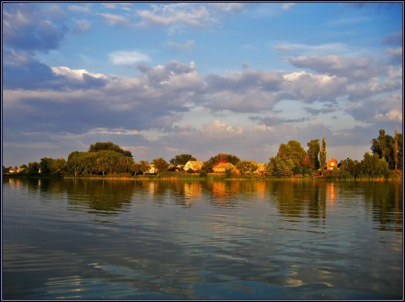 украина, миргород, лето, река, хорол, закат, облака, отражение Предзакатный Хоролphoto preview