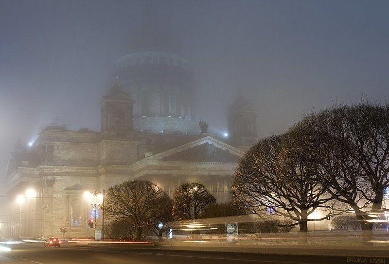 питер, туман, исаакиевский собор, ночь, фонари Цветные сны Святого Исаакияphoto preview