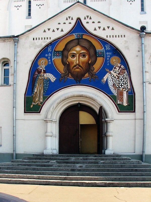 храм, никольский, старообрядческий Портал Никольского старообрядческого храма и Белорусского вокзала. Москва.photo preview