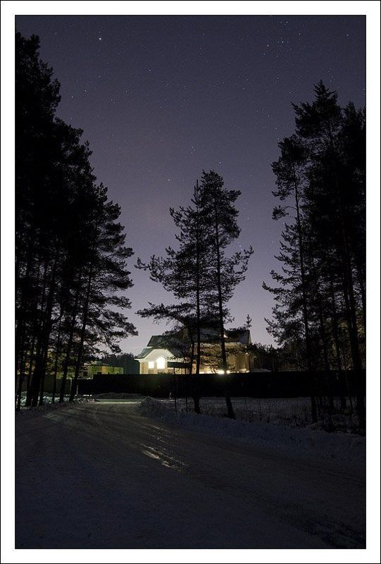 звезды,дом,снег,ночь,зима, мороз Звездная-морознаяphoto preview