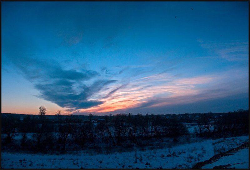 закат, вечер, облака, зима, река, птицы Подмосковное небо зимойphoto preview