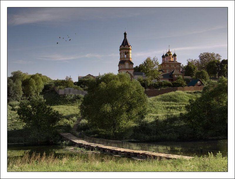 деревня, церковь, рыбак, мостик, лето, птицы Сельский пейзаж с рыбакомphoto preview