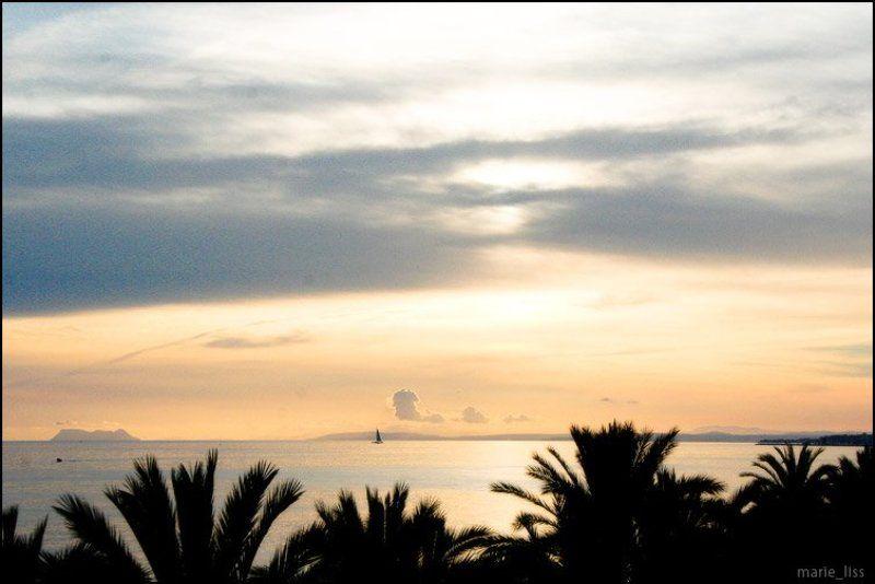 spain, mar, marbella, море закат, вид на Гибралтарphoto preview