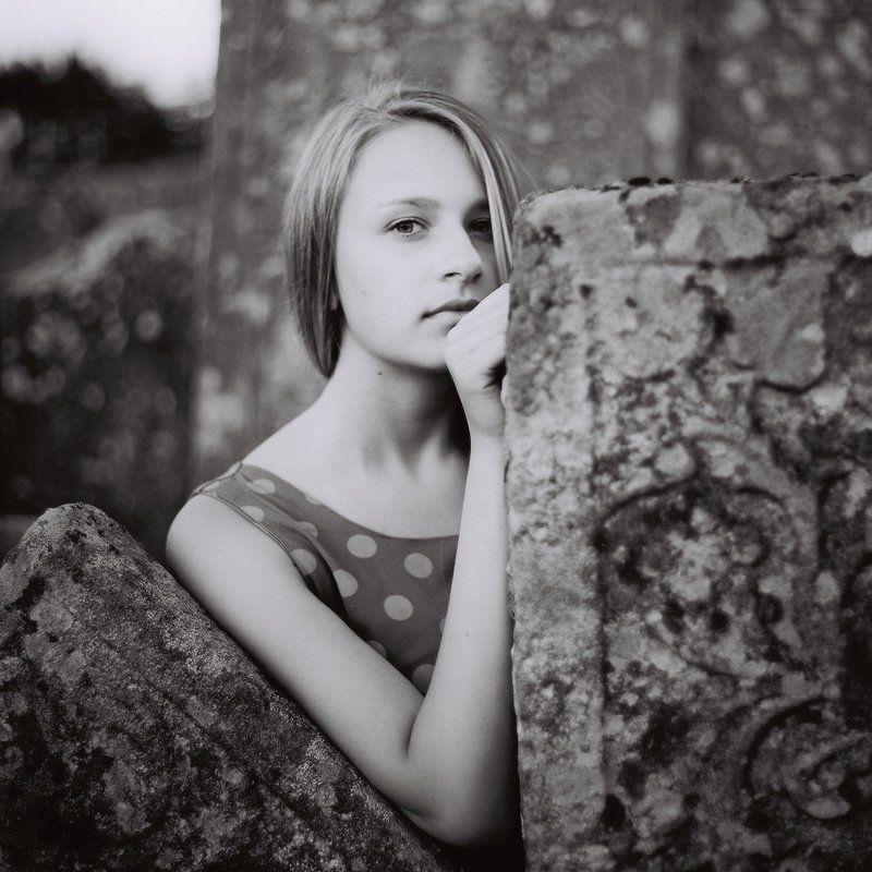 девушка, портрет, чб photo preview