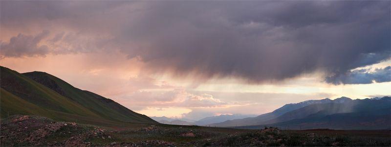 р.каракуджур, закат, панорама, киргизия, тянь-шань, путешествие, поход, вело, долина, вечер photo preview