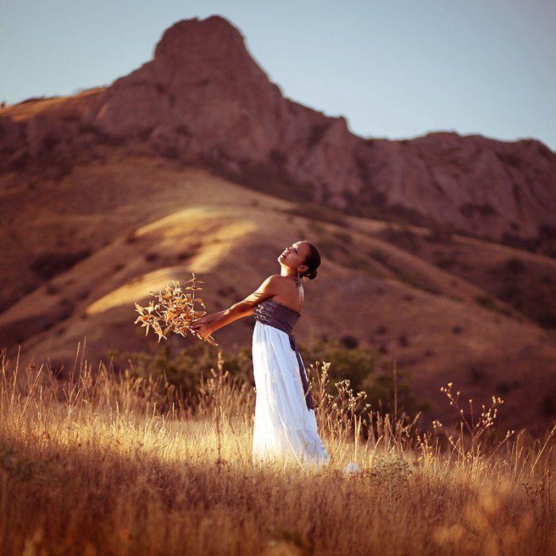 природа, поле, девушка, портрет, колючка photo preview