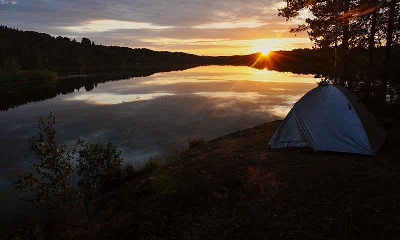 закат, озеро, карелия photo preview