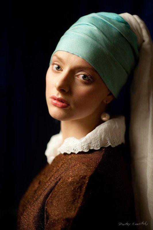 девушка, жемчужной, сережкой, вермеер, портрет, студия photo preview
