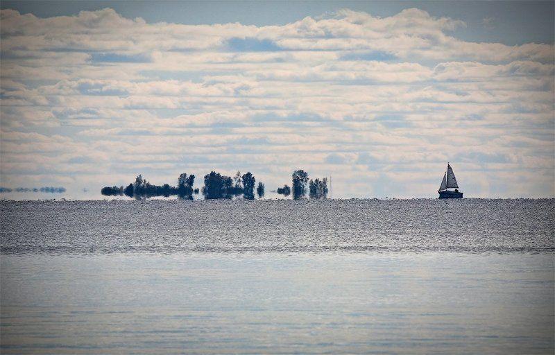 небо, вода, яхта, мираж, гладь photo preview