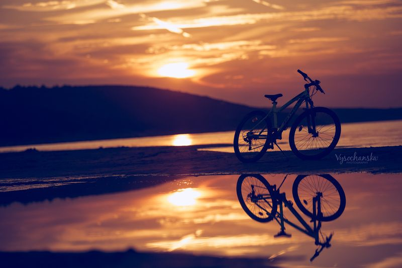 sunset, bicycle, sea, sand, evening, steel life sunsetphoto preview
